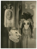 "Masks for the ""Strange Shapes"" in Act 3, scene 4, Tempest (designed by C. Walter Hodges)"