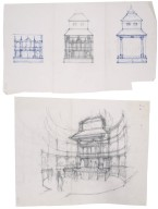 Sketch of interior and architectural details for Globe reconstruction