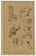 [A set of miscellaneous sketches, dealing with human figures, horses and furniture] [graphic] / [William Makepeace Thackeray]