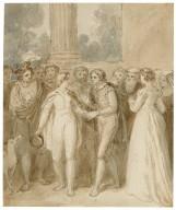 Sebastian and Viola before Olivia's house - Twelfth night act V, sc. 1 [graphic] / [John Wright].