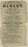 he Last Time of acting before the Holidays Mr. Macready's Night. Theatre Royal, Covent-Garden. This present Friday, June 8, 1821 will be acted Shakspeare's Tragedy of Hamlet ...