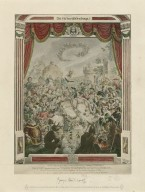 """The first appearance of William Shakespeare, on the stage of """"The Globe,"""" surrounded by part of his Dramatic Company, the other members coming over the hills."""