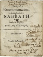 The bill of excommunication, for abolishing henceforth the Sabbath called Sunday or first day. By the Lady Eleanor.