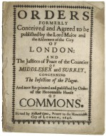 [Acts & Orders. 1646-08-20] Orders formerly conceived and agreed to be published by the Lord Major and the aldermen of the City of London: and the justices of peace of the counties of Middlesex and Surrey, concerning the infection of the plague. And now re-printed and published by order of the Honourable House of Commons.
