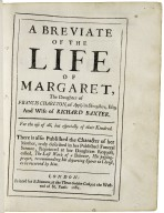 A breviate of the life of Margaret, the daughter of Francis Charlton, of Apply in Shropshire, Esq; and wife of Richard Baxter. For the use of all, but especially of their kindred. There is also published the character of her mother, truly described in her published funeral sermon, reprinted at her daughters request, called, The last work of a believer, his passing-prayer, recommending his departing spirit to Christ, to be received by him.