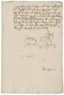 """Great Britain. Privy Council. Warrant to provide for masque for Twelfth night signed by six members. To Sir Thomas Cawarden. Greenwich. """"this last of December 1552""""."""