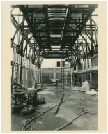 Bond Reading Room construction: steel frame, view from east end