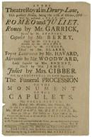 Playbill for Garrick's Romeo and Juliet