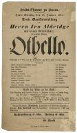 Playbill from the Konigl. Schauspiel zu Potsdam, 1853.