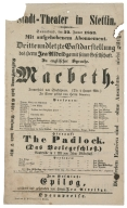 Playbill from the Stadt-Theater in Stettin, 1853.