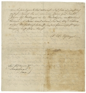 Collection of German papers relating to William Shakespeare [manuscript], 1777-1912.  Autograph letter (or last part of a letter signed?) to Justizrath [Gottlieb] Hufeland in a different hand.