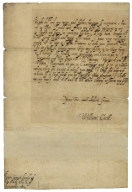 Autograph letter signed from William Cecil, Theobalds, to Robert Cecil