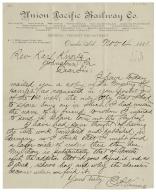 Autograph letter signed from E.P. Vining, Omaha, to Rev. Karl Kurtz, Johnstown, Pennsylvania [manuscript].