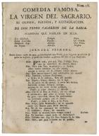 La virgen del Sagrario, su origen, perdida, y restauración / de Pedro Calderón de la Barca.