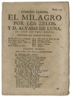 [Milagro por los zelos] El milagro por los zelos, y D. Alvaro de Luna / de Lope de Vega Carpio.