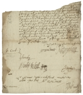 Letter signed from the Privy Council, Whitehall, to the Lord Treasurer : fragment