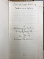 A bibliographical catalogue of the books and manuscripts illustrating the life and works of William Shakespeare [manuscript], 1889-1890.