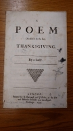 A poem occasion'd by the late thanksgiving. : By a lady.