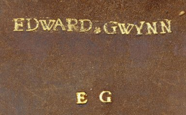 """Front cover tooling (detail), name tooled in 24 point type The """"Y"""" in 28 point type. Unusual to have the initials EG tooled on the front cover as well as on the back, STC 15142 copy 2."""