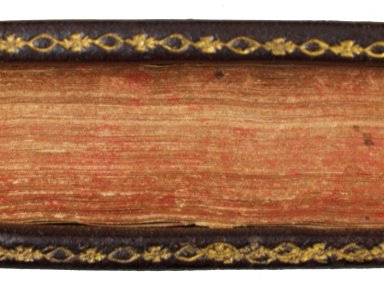 Fore-edge of boards gilt with a flower and lozenge roll (detail), STC 15142 copy 2.