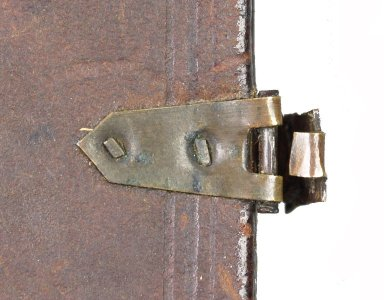 Hasp and catch plate on the back cover with cut brass nails (detail), STC 15142 copy 2.
