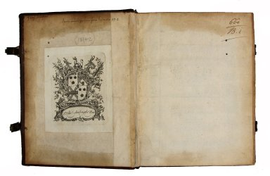 Pastedown and flyleaf of inside front cover with visible endpaper construction, two leaves folded and sewn with double short guards, not trimmed at an angle that were adhered prior to the pastedown, STC 15142 copy 2.