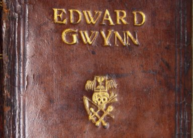 """Front cover tooling (detail), showing gilt name """"EDWARD GWYNN"""" and """"memento mori"""" crest, the name is tooled with 24 point type, STC 22553 copy 3."""