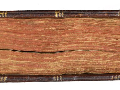 Fore-edge colored in red and board edge tooling (detail), single blind line bisected with a triple gilt line tool, STC 22553 copy 3.
