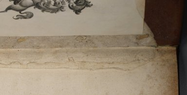 Inside front cover stitching (detail), STC 24233.