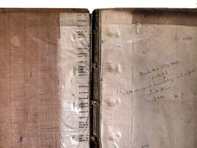 Inside front cover manuscript waste (detail), STC 9551.