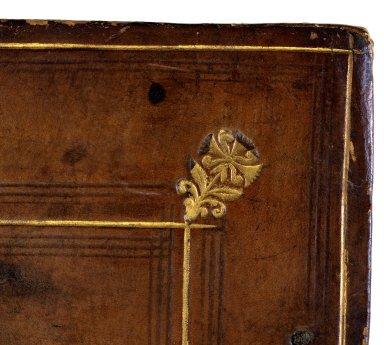 Front cover corner stamp detail