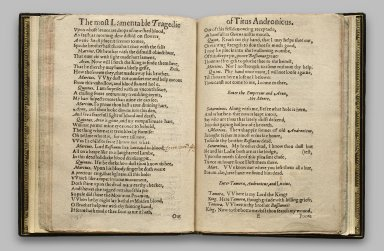 [Titus Andronicus] The most lamentable Romaine tragedie of Titus Andronicus As it was plaide by the right honourable the Earle of Darbie, Earle of Pembrooke, and Earle of Sussex their seruants.