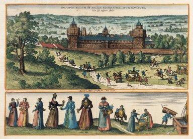 Palatium regium in Angliae regno appellatum Nonciutz, hoc est nusquam simile [graphic] / effigiauit Georgius Houfnaglis anno 1582.