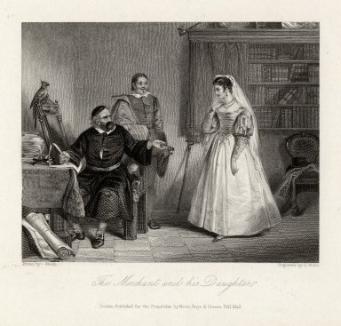 The Merchant and his daughter [Shylock & Jessica, Merchant of Venice, II, 5] [graphic] / drawn by Nash ; engraved by C. Rolls.