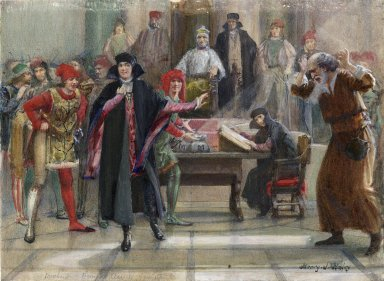 """Merchant of Venice. Act IV, Scene I [""""The Jew shall have all justice""""] [graphic] / Henry J. Haley."""