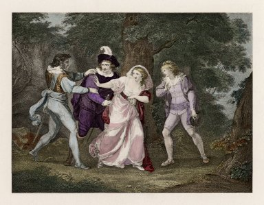 [Two gentlemen of Verona, Valentine, Proteus, Silvia, & Julia, act V, scene IV] [graphic] / [Kauffman del.].