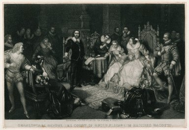 Shakespeare before the court of Queen Elizabeth reciting Macbeth [graphic] / engraved for the Eclectic by [George Edward] Perine & Giles.