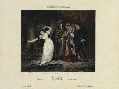 Hamlet: acte 4, scène 5: Ophelia, le Roi, la Reine, Laertes [graphic] / Deveria et Boulanger del. ; imp. lith. de H. Gaugain.