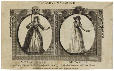 New lady's magazine: Mrs. Inchbald as Lady abbess [Aemilia] in the Comedy of errors [by Shakespeare], Mrs. Wells in the character of Jane Shore [in Rowe's Jane Shore] [graphic] / J.G. Wooding sculpt.
