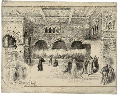 [Macbeth, banquet scene, Lyceum Theatre, February 2, 1889, Sir Henry Irving as Macbeth, Ellen Terry as Lady Macbeth] [graphic] / J. Jellicoe ; H. Railton.