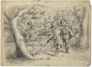[Three drawings illustrating Twelfth night] [graphic] / Th. Nast.