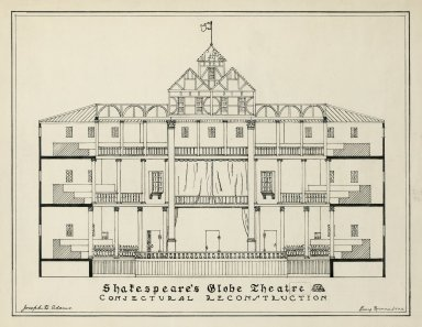 Shakespeare's Globe Theatre, conjectural reconstruction [graphic] / Joseph Q. Adams ; Henry Roenne, 1922
