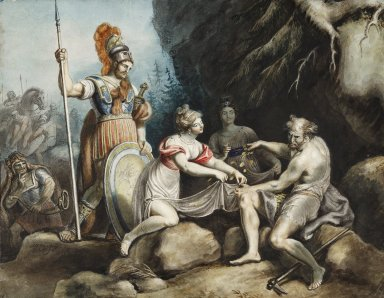 Timon of Athens: IV, 3. Timon giving away the gold to Phrynia and Fernandra