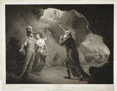 Tempest, act IV, scene I, Prospero's cell: Prospero, Ferdinand, Miranda, &c. [graphic] / painted by Joseph Wright ; engraved by Robert Thew.