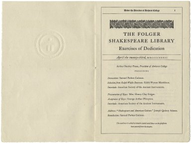 Program for the Dedication of the Library