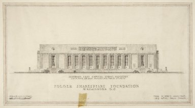 East Capitol Street elevation, recessed statues at ends