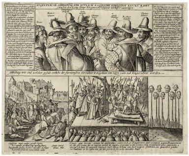 Eygentliche Abbildung wie ettlich Englische Edelleut einen Raht schliessen den König sampt dem gantzen Parlament mit Pulfer zuvertilgen [graphic].