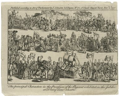The principal characters in the procession of the Pageant exhibited in the Jubilee [commemorating Shakespeare, written by Garrick] at Drury Lane Theatre [graphic].