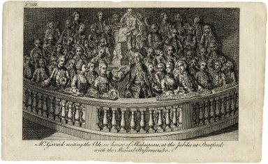 Mr. Garrick reciting the ode, in honor of Shakespeare, at the Jubilee at Stratford, with the musical performers, &c. [graphic].