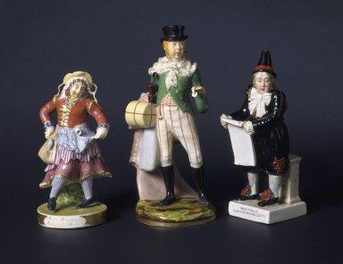 Rockingham figure of Liston as Moll Flaggon; Porcelain figure of Liston as Lubin Log; Enoch Wood and Sons pearlware figure of John Liston as Van Dunder